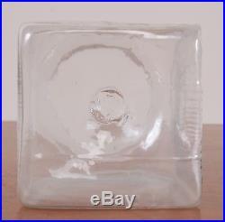 Antique BIROMIA Label Glass Apothecary Jar Hand Blown Fruit Handle Pontil