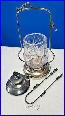 Antique Bullseye glass and metal pickel jar with lid, handle with tongs circa 1890