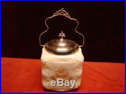 Antique CF Monroe WaveCrest Biscuit Jar Quadruple Plate Lid & Handle Floral