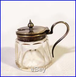Antique C. 1880s Victorian Cyrstal Glass Mustard Jar Pot Silverplate Lid Handle