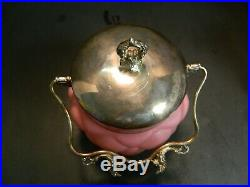 Antique Consolidated Quilted Pink Glass & Silverplate Handled Biscuit/Cookie Jar