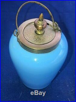 Antique Covered French Blue Opaline Art Glass Marmalade Jar with Bronze Handle
