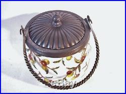Antique Cracker Biscuit Cookie Jar w Silverplate Rope Twist Handle &Lid BERRIS