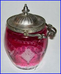 Antique Cranberry Glass (Cut-to-Clear) BISCUIT JAR withGrape Motif & Swing Handle