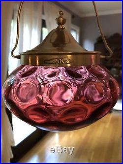 Antique Cranberry Glass IVT Biscuit Sugar Jar Pickle Castor Plated Lid Handle