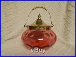 Antique Cranberry Glass Thrumbprint Cookie, Bisque Jar With Sp Lid, Handle