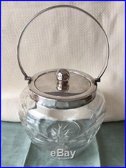 Antique Crystal Biscuit Barrel Jar Silver-Plated Handle & Lid England Cut Glass