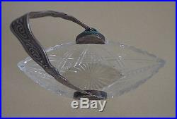 Antique Crystal Candy Biscuit Jar Polish 1800's Silver Handle Signed Lovely
