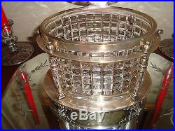 Antique Cut Glass Biscuit Jar With Silver Plated Container & Handle 1900