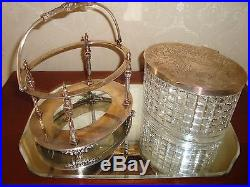 Antique Cut Glass Biscuit Jar With Silver Plated Container & Handle 1900's