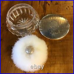 Antique Cut Glass Powder Jar Sterling Silver Lid Powder & Puff Sterling Handle