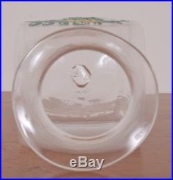 Antique DIAGRAT Label Glass Apothecary Jar Hand Blown Fruit Handle Pontil