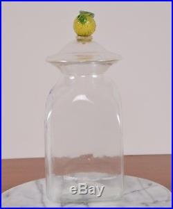 Antique DIAGR AT Label Glass Apothecary Jar Hand Blown Fruit Handle Pontil