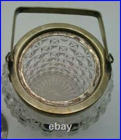 Antique EAPG Pickle Biscuit Jar with Silver Handle & Lid 6 Vintage Marked R-45942