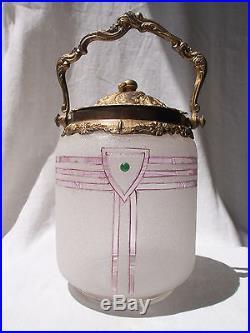 Antique French Art Deco Biscuit Barrel Cookie Jar Gilt Rococo Lid & Handle