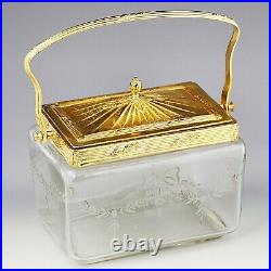 Antique French clear crystal glass Cookie Jar set in ormolu mounts with lid handle