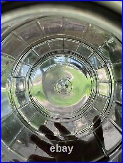Antique General Store Counter Glass Barrel Pickle Jar w Bail Handle