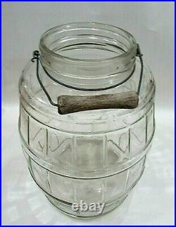 Antique General Store Counter Glass Egg Jar Pickle Barrel w Wood Handle FREE SH