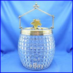 Antique Glass Basket Shaped BISQUITS Jar, Leaf Finial, Handle, SWEET