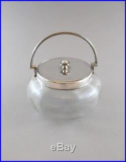 Antique Glass Biscuit Barrel Sweets Jar Bowl Silver Plated Lid Handle