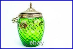 Antique Green Glass Jar Art Nouveau c1900 Ice Bucket Cookie Barrel Painted