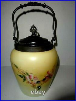 Antique Hand Painted Victorian Glass Biscuit Jar With Silver LID And Swing Handl
