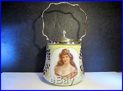 Antique Hand Painted Victorian Lady Bust Handled Milk Glass Biscuit Cracker Jar