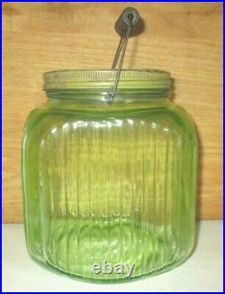 Antique Hoosier Anchor Hocking Green Vaseline Ribbed Glass Coffee Jar & Handle
