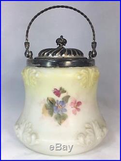 Antique LARGE WAVECREST 7 Tall Floral BISCUIT CRACKER JAR with Lid & Handle