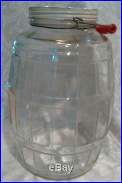 Antique Large Barrel Glass Pickle Jar WithLid, Red wood Handle Org. Label