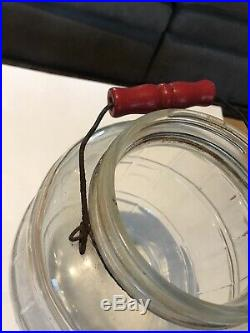 Antique Large Glass Pickling Jar One Gallon with Handle