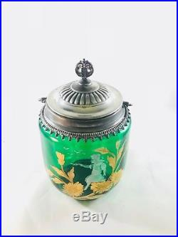 Antique Mary Gregory Green Glass Biscuit Jar with Handle Gold Floral & Girl