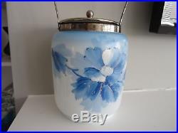 Antique Milk Glass Hand Painted Metal Handled Enameled BISCUIT JAR Blue Flower
