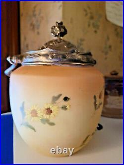 Antique Mt. Washington Burmese Opal Ware Hand Enameled Biscuit Barrel Handled Jar