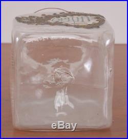 Antique OPIUM Label Glass Apothecary Jar Hand Blown Fruit Handle Pontil
