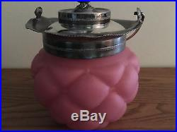 Antique Pink Satin Glass Biscuit Jar with Lid and Handle 10.5