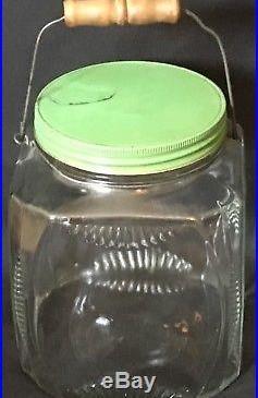 Antique Primitive Country Art Deco Glass Jar Bottle Wire Wood Bale Handle G Lid