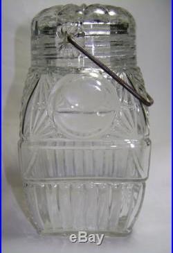 Antique Primitive Early Fruit Jar with Glass Lid & Bale Handle Geometric Design