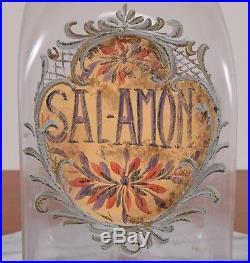 Antique SALAMON Label Glass Apothecary Jar Hand Blown Fruit Handle Pontil