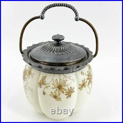 Antique Satin Glass Biscuit Jar with Detailed Tin Lid & Copper Handle Gold Painted