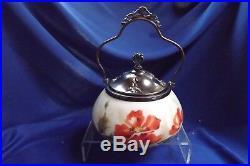 Antique Signed Belle Ware Glass Handled Biscuit Jar 1903 by Carl V. Helmschmied