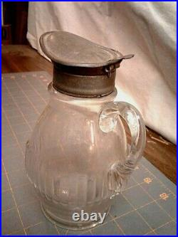 Antique Syrup Jar Pitcher Hinged Metal Lid with Hand Blown Handle