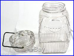 Antique Threaded Glass Jar with Metal Wire Handle Ornate Style