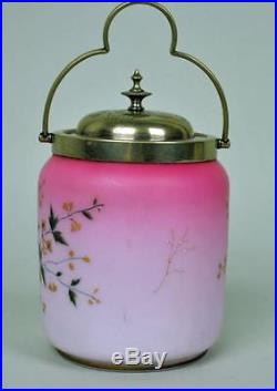 Antique VICTORIAN PINK SATIN GLASS SILVERPLATE HANDLE Cracker Biscuit Cookie Jar