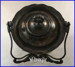 Antique Victorian Art Glass Cf Monroe Wavecrest Biscuit Jar With Bail Handle