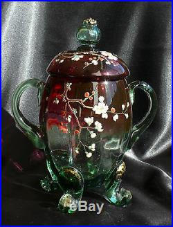 Antique Victorian Art Glass Decorated Rubina Verde Footed, Handled 9-1/2 Jar