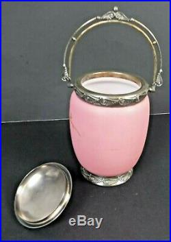 Antique Victorian Cased Peachblow Glass Biscuit Jar Metal Lidded Footed Handled