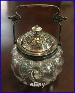 Antique Victorian Large Jelly Condiment Mustard Jar Silver Plated Lid and Handle