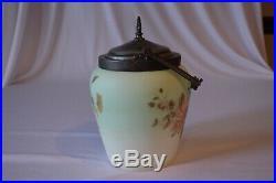 Antique Victorian Satin Wavecrest Glass Bisquit Jar with Handle Painted Flowers
