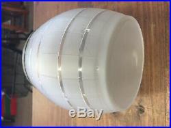 Antique Vintage Biscuit 1910-30 Jar Rope Barrel Handled Jar Etched Cut Glass